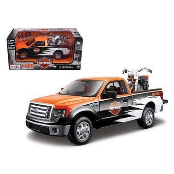 2010 Ford F 150 STX Harley Davidson Orange/White/Black 1/27 and 1/24 1958 FLH Duo Glide Motorcycle by Maisto