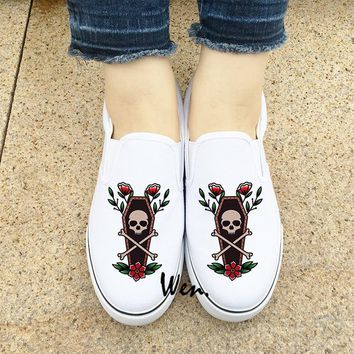 Wen Men Women White Canvas Sneakers Skull Flower Death Coffin Original Design Low Slip on Sport Shoes Platform Espadrilles Flat