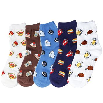 Women Cute Snacks Cotton Socks Kawaii Female Beer Chicken Cake Sandwich Coffee Milk Strawberry Hamburger  Hotpot Cartoon Sock