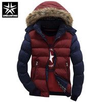 Contrast Color Hooded Design Men Parka Size M-4XL Casual & Fit Men's Winter Jacket Stand Collar Thick Man  Jacket