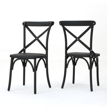 Shiff Farmhouse Plastic Nylon Dining Chairs, Set of 2