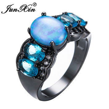 JUNXIN Unique Blue Fire Opal Rings For Women Men Black Gold Filled Wedding Party Engagement Zircon Ring Friendship Jewelry