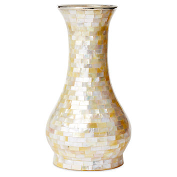 "10"" Round Mother-of-Pearl Vase w/ SS, Vases"