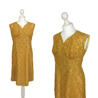 1950's Lace Dress | 50's Vintage Dress | Mustard Gold Lace Dress With Metal Zipper