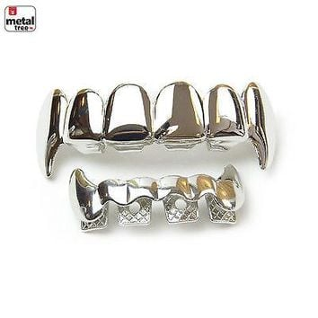 Jewelry Kay style Men's Vampire GRILLZ SET Fangs Silver Toned Top & Bottom Teeth Dracula LS020 S