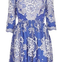 China Blue Lace Skater Dress - Topshop USA