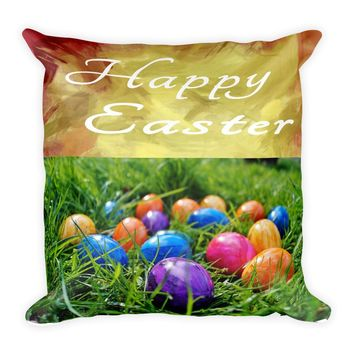 Happy Easter egg accent throw pillow