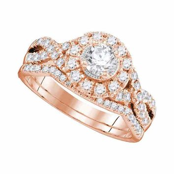 14kt Rose Gold Womens Round Diamond Twist Bridal Wedding Engagement Ring Band Set 1.00 Cttw