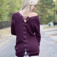 Purple Rain Back Lace Up Sweater