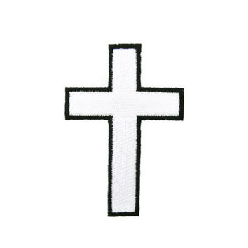 White Religious Christian Cross Sign Applique Embroidered Iron On Patch