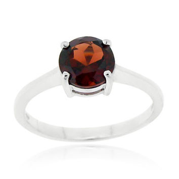 Sterling Silver Garnet Solitaire Round Ring