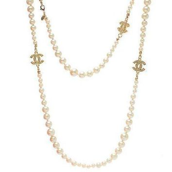 DCCKNQ2 Chanel Woman Fashion Logo Pearls Necklace For Best Gift