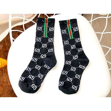 Free shipping-GUCCI women's side red and green striped cotton socks black