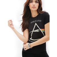 Black Pink Floyd The Dark Side Of The Moon Print Graphic Tee