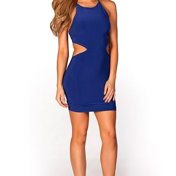 Serafina Royal Blue Adjustable Strappy Backless Mini Dress