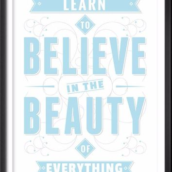 Learn To Believe Typography Print, Inspirational Quote Poster, Love Wall Art, Love Quote, Love Print, Love Quote Print, Adventure, Wall Art
