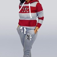 Adidas New fashion letter leaf print contrast color hooded long sleeve sweater and pants two piece suit