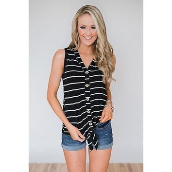Wouldn't It Be Nice Striped Knot Top- Black