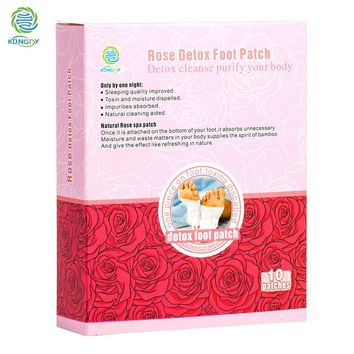 KONGDY Retail Box 10 pieces Rose Essential Oil Foot Care Bamboo Vinegar Pads Improve Sleep Quality Beauty Slimming Patch