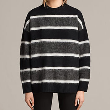 ALLSAINTS US: Womens Edi Crew Sweater (Black/White)