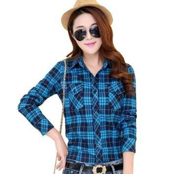Hot New Arrival Flannel Women's causal Plaid Shirt