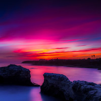 Santa Cruz California Coast Photo - Purple, Pink and Red Sunset Colors Along California Cliffs - Print available in all sizes for Home Decor