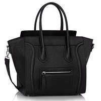 Women's Ladies Designer Leather Style Celebrity Tote Bag Smile Shoulder Handbag