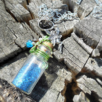 Fairy Dust Glass Vial Fantasy Necklace with Lime Green Wire Tendrils, Czech Glass Leaf & Blue Flower and Pixie Charm in Antique Silver