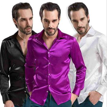 New 2017 Leisure Brand Clothing High-grade Emulation Silk Long Sleeve Shirts Men's Casual Shirt Shiny Satin Camisa White Black