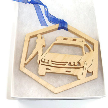 Police Or Sheriff With Police Car Christmas Ornament Handmade from Birch Wood By KevsKrafts
