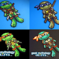 Teenage Mutant Ninja Turtles Chibishou Perler Bead Sprite Decoration - YOU CHOOSE 1 - Leonardo, Raphael, Michelangelo, or Donatello