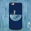 Funny Blue Moon Phone Case Cute Astronaut Cover iPod iPhone 4 4s 5 5s 5c 6 Plus