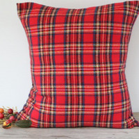 Christmas Pillow Cover, Flannel Pillow, Tartan Royal Stewart Pillow Cover, Plaid Christmas Plaid Pillow Case, Plaid throw pillow, Custom