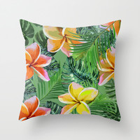 Orange & Lemon Floral Tropics Throw Pillow by ALLY COXON
