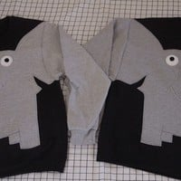 ELEPHANT TRUNK SLEEVE sweatshirt sweater jumper elephants holding trunks in your choice of color and size