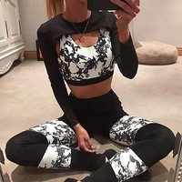 Heal Orange 3d Print Yoga Set Fitness Clothing Bra + Leggings Women Gym Sets 2 Piece Girls Tracksuit Workout Clothes For Women
