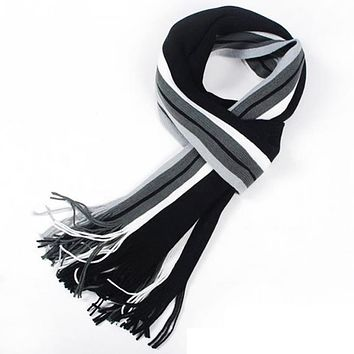 Winter Fashion scarf men striped cotton scarf female & male brand shawl wrap knit cashmere bufandas Striped scarf with tassels