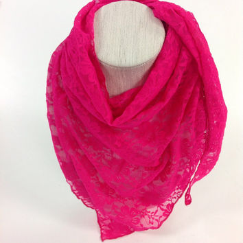 Neon Bright Pink stretchy lace scarf, bright Pink bandana, shimmering lace Cowl scarf, Daily Etsy Sales, Christmas gift idea, ready to ship