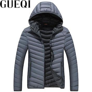 GUEQI ADD Fleece Men Warm Hooded Jackets Plus Size L-3XL Cold Winter Solid Color Man Casual Windproof Parkas