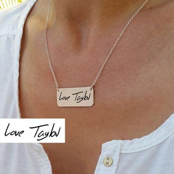 Engraved Bar Handwritten Necklace - Signature Jewelry - Memorial Handwriting necklace - Personalized Jewelry