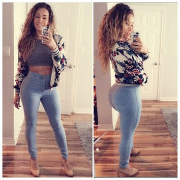 2016 Trending Fashion Solid Women Casual High Waisted Trousers Pants _ 1873