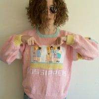 Vintage 80s 90s Pink The Gossipers Mean Girls Oversize Cropped Knit Sweater