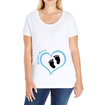 Custom baby boy name maternity design Ladies Curvy T-Shirt