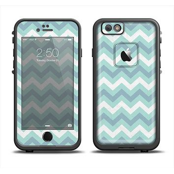 The LightTeal-Colored Chevron Pattern Skin Set for the Apple iPhone 6 LifeProof Fre Case