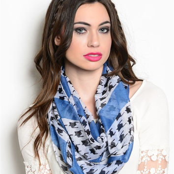 Houndtooth, Denim Colored Blue, and White Infinity Scarf