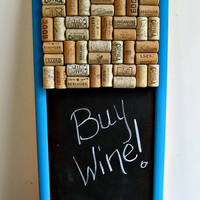 Long Wine Cork Chalk Board - Message Board, Bulletin Board - Kitchen, Office, Home Organizer - Turquoise Teal Blue