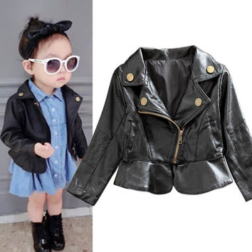 Winter Fashion Style Baby Girls Black Toddlers Warm Jacket Faux Leather Children Outwear Coat