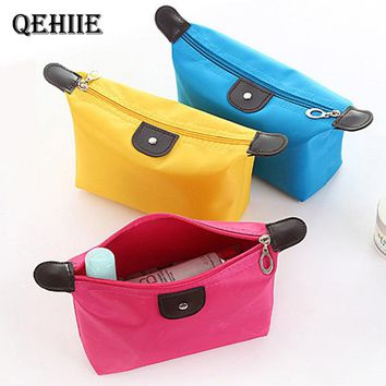 Candy color ladies cosmetic bag nylon waterproof beautician cosmetics shop brush travel organizer essential free shipping