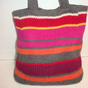 vintage Acrylic wool blend red pink gray orange sweater stripe woven satchel Shoulder bAG Purse handbag