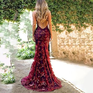 Simplee Strap mesh sequins maxi dress Elegant backless lace up long party dress Robe femme 2019 autumn winter ladies sexy dress